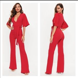 Missguided red jumpsuit